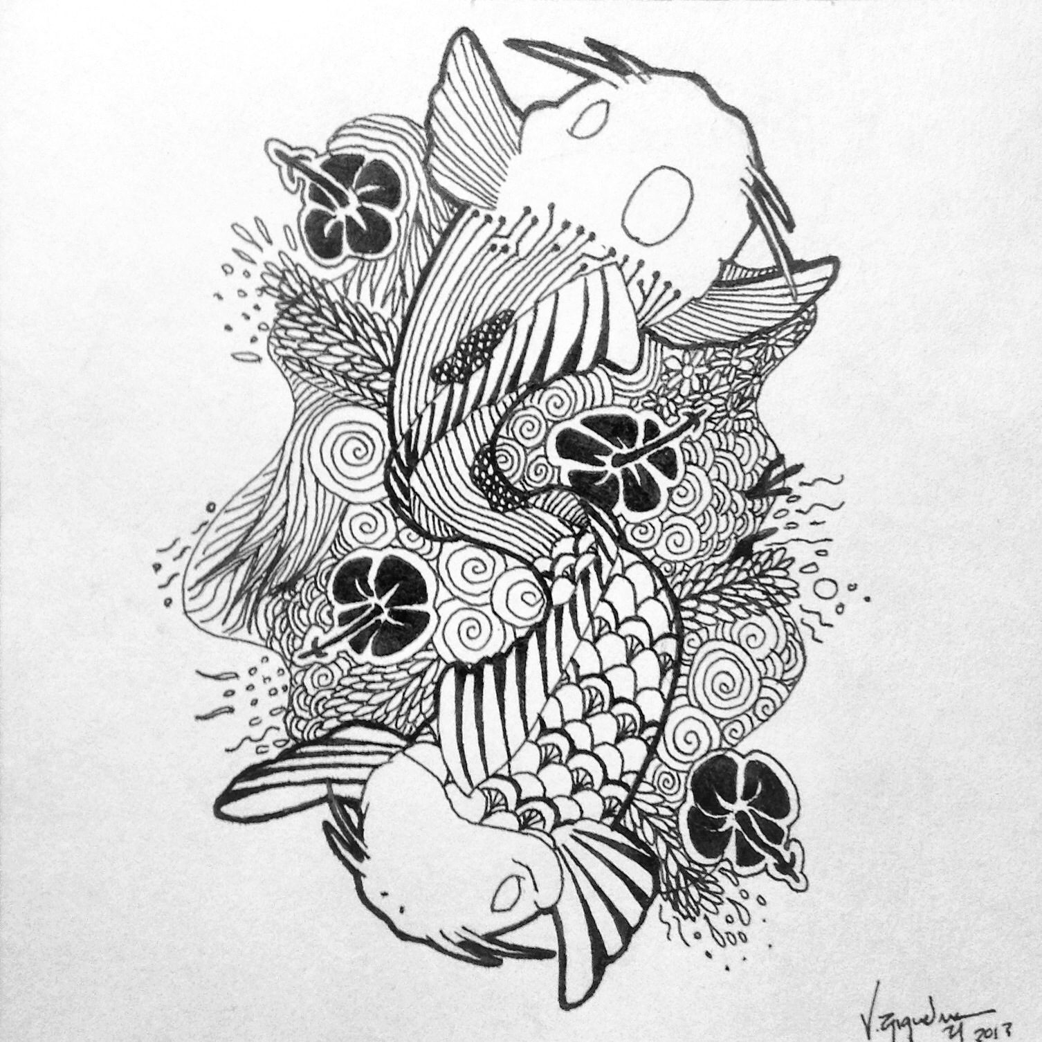 double koi fish tattoo design val riquelme